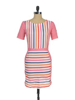 Striped Dress With Side Panels - I KNOW By Timsy & Siddhartha