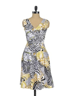 Yellow Leopard Printed Dress - I KNOW By Timsy & Siddhartha