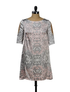 Grey Pink Printed Satin Dress - I KNOW By Timsy & Siddhartha