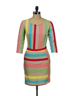 Beige Striped Dress - I KNOW By Timsy & Siddhartha