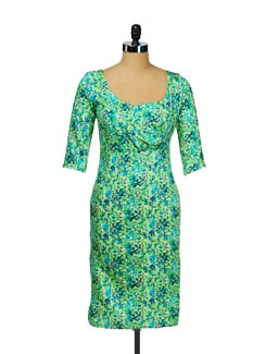 Scoop Neck Printed Green Dress - I KNOW By Timsy & Siddhartha