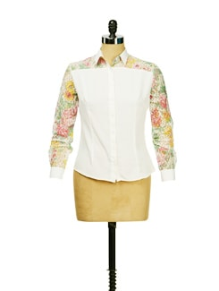 Lace Sleeved White Shirt - I KNOW By Timsy & Siddhartha