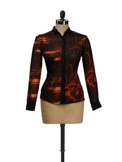 Black Orange Abstract Print Sheer Shirt - I KNOW By Timsy & Siddhartha