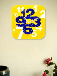 Yellow And Blue Square Wall Clock - Zeeshaan