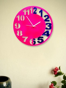 Pink And Blue Engraved  Wall Clock - Zeeshaan