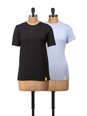 Round Neck Tees In Set Of Two - By