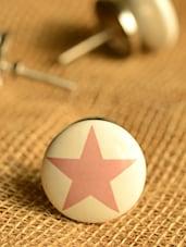 Pink Star Print Knobs- Set Of 6 - Casa Decor
