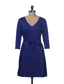 Ink Blue Front Wrap Dress - Color Cocktail