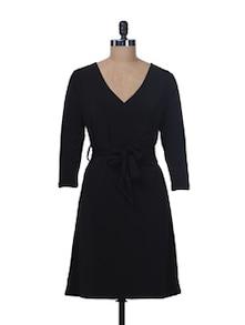 Black Front Wrap Dress - Color Cocktail
