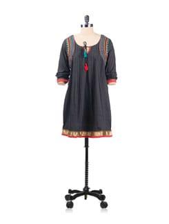 Black Tunic With Tribal Embroidery - EKAA