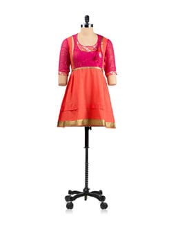 Orange Tunic With An Angrakha Style Neckline - EKAA
