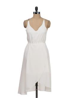 Pristine White Asymmetrical Dress - Tops And Tunics