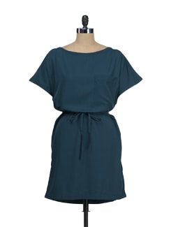 Bottle Green Tie Up Dress - Tops And Tunics