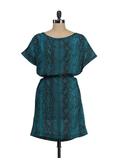 Teal Blue Snake Print Dress - Tops And Tunics