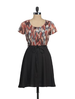 Feather Print Skater Dress - Tops And Tunics