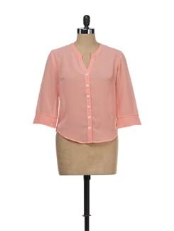 Sheer Peach Shirt - Tops And Tunics