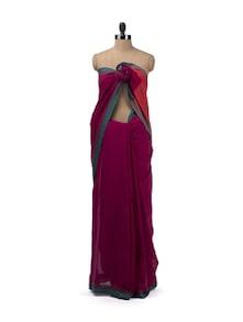 Pink Cotton Handloom Saree With Contrast Border - Desiweaves