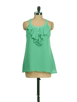Green Ruffled Front Top - AND