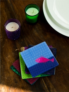 Colourful Fish Coasters Set Of 6 - India Circus