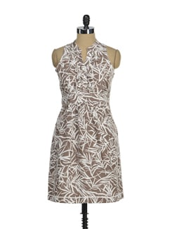 Stylish Brown & White Printed Dress - AND