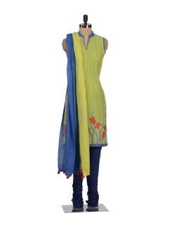 Elegant Blue & Green Churidar Suit - Global Desi