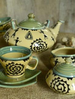 Warli Green Tea Set Of 15 Pcs - Cultural Concepts