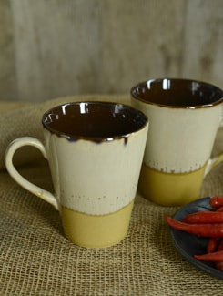 Studio Cone Milk Mug -Beige& Yellow- Set Of 2 - Cultural Concepts