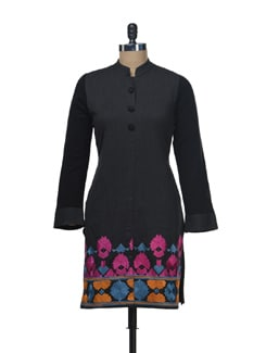Woollen Grey Kurta With Colourful Embroidery - Paislei