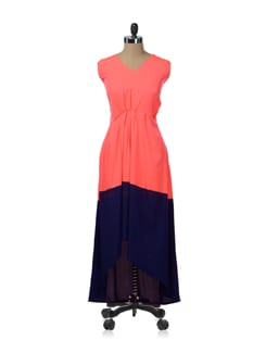 Blue & Coral Asymmetric Maxi Dress - Nangalia Ruchira