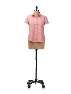 Red Shirt With Contrasting Piping On The Button Placket - ENAH