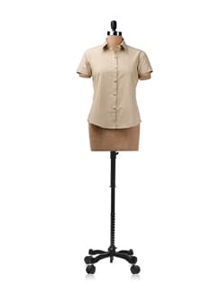 Beige Shirt With Contrasting Piping On The Button Placket - ENAH