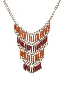 Orange And Red Multi Layered Necklace - THE PARI