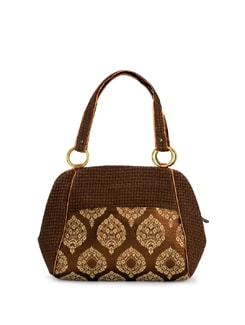 Brown Jute Bag With Leatherette And Silk Trims - Ananaya