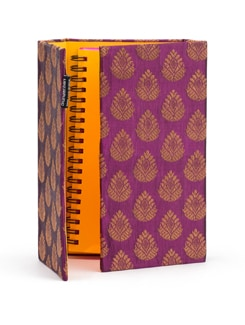 Purple Brocade Organizer With Pink Pages - SUNDARBAN