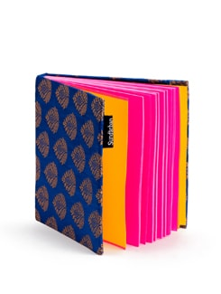 Blue Square Brocade Notebook With Pink Pages - SUNDARBAN