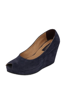 Navy Blue Peep Toe Wedges - Blue Button