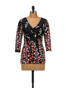 Chic Black Knotted Top - SPECIES