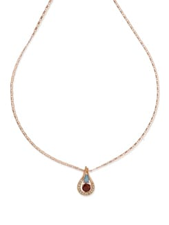 Drop Pendant Rose Gold Necklace - Ivory Tag