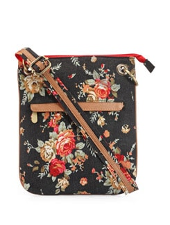 Printed Floral Canvas Bag - Ivory Tag