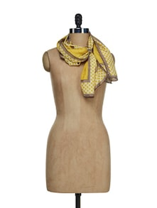 Silk Mustard Scarf - Ivory Tag