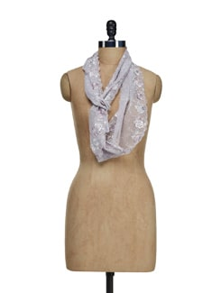 Grey Floral Embroidered Scarf - Ivory Tag