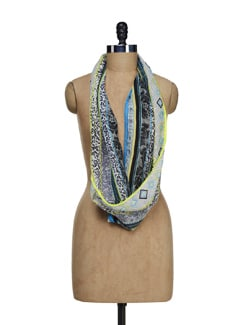 Assorted Print Scarf With Neon Lace - Ivory Tag