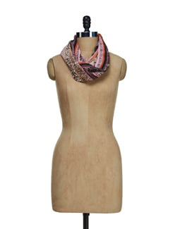 Abstract Print Scarf With Lace Border - Ivory Tag