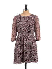 Julie Black Ditsy Dress With Front Yoke - STREET 9