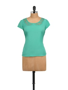 Sea Green Top With Lace Collar - STREET 9