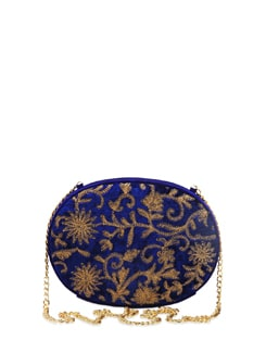 Blue & Gold Oval Box Clutch - The Peacock Plume