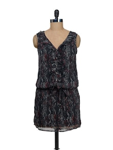 Abstract Print Brown Dress - I AM FOR YOU