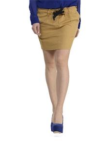 Beige Elastic Waist Skirt - Schwof