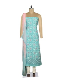 Sky Blue & Pink Embroidered Suit - Ada
