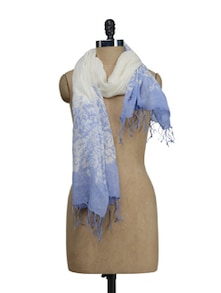 White & Blue Floral Print Scarf - HOS Designs